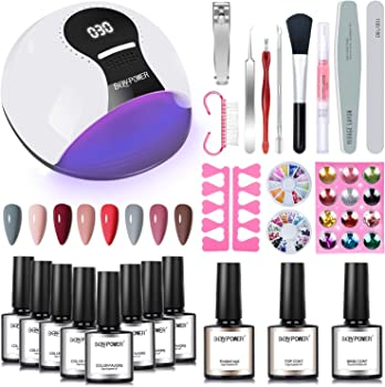 Bqypower Gel Nail Polish Starter Kit with UV Light