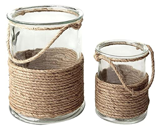 Christmas Tablescape Decor - Seaside Treasures Glass & Rope Accent Hurricane Pillar Candle Holders Set of 2