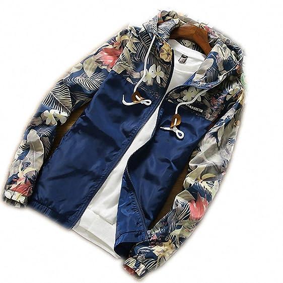 Korean Style Men Jacket Coat Floral Print Hooded Windbreaker Male Jacket NEW Spring Summer Clothing Mens