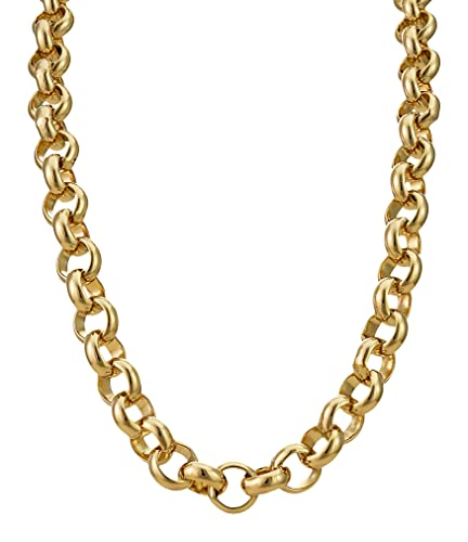 8d1ca4afe5097 Collier homme - plaqué or 24 carats - Grosse chaîne forçat Hip Hop Bling,  10mm