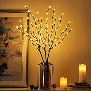 RENUS Branch Lights,3 Packs Twig Light USB Powered 8 Flashing Modes by Remote Control.Branch Lights for Indoor and Outdoor, Light Up Decorations for Halloween Thanksgiving Day and Christmas,Warm White