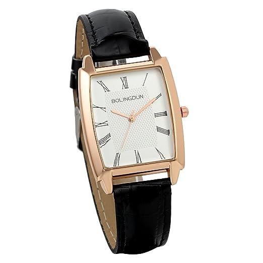 JewelryWe Relojes Hombre, Correa De Cuero Cuarzo Rectangular, Unisex Reloj Vintage, Estilo Clásico Casual, Color Dorado Negro: Amazon.es: Relojes