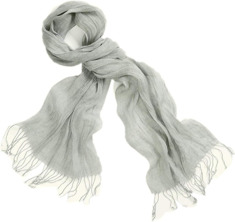 200 cm frange di colore bianco e nero semplice sciarpa screziata 100/% sciarpa da uomo di lino Prettystern la selezione del colore