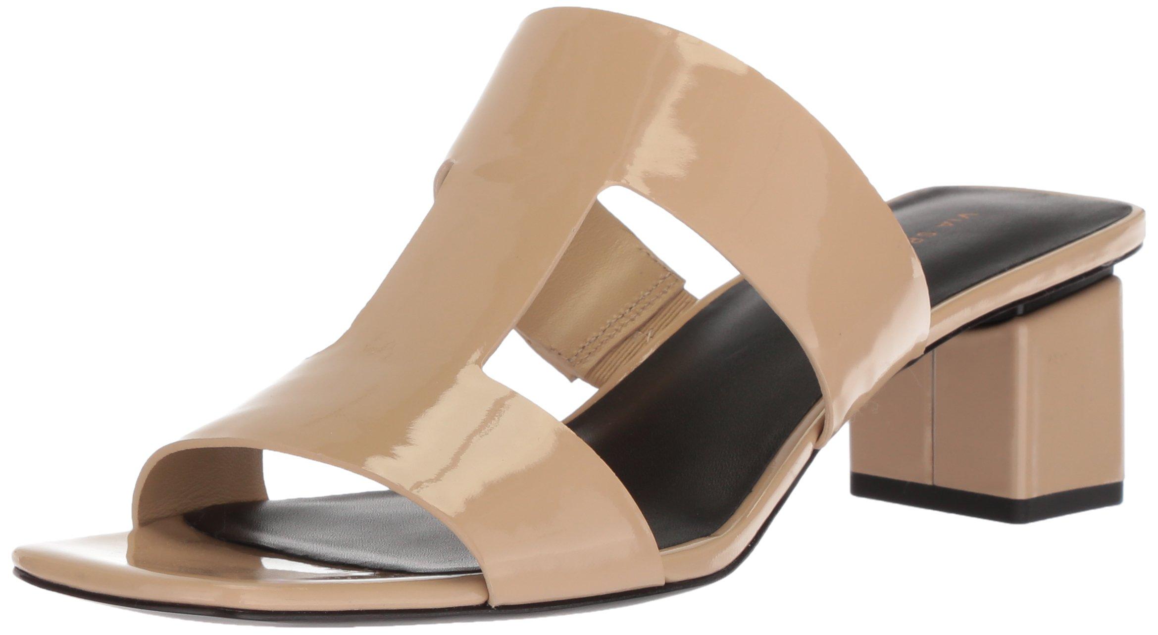 Via Spiga Women's Florence Block Heel Slide Sandal, Sand Patent, 7.5 Medium US