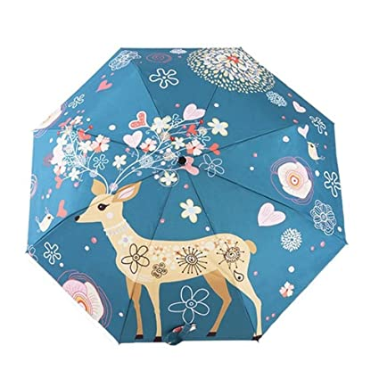 Katoot@ Original Deer and Flower silver coating fold manual umbrella rain/sun women,