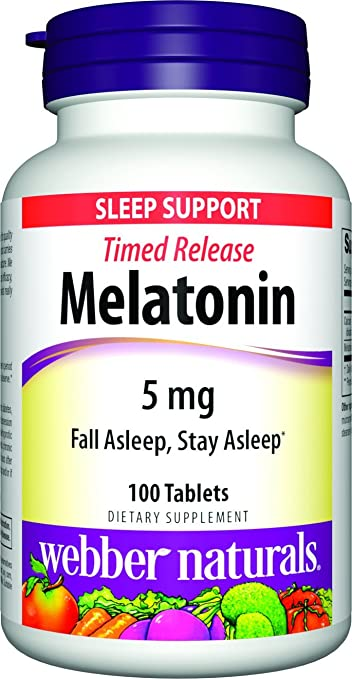 Webber Naturals Melatonin Timed Release, Extra Strength, 5 mg, 100 Count