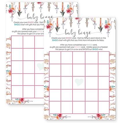 Amazon Girls Woodland Baby Shower Bingo Game Card Set Of 25