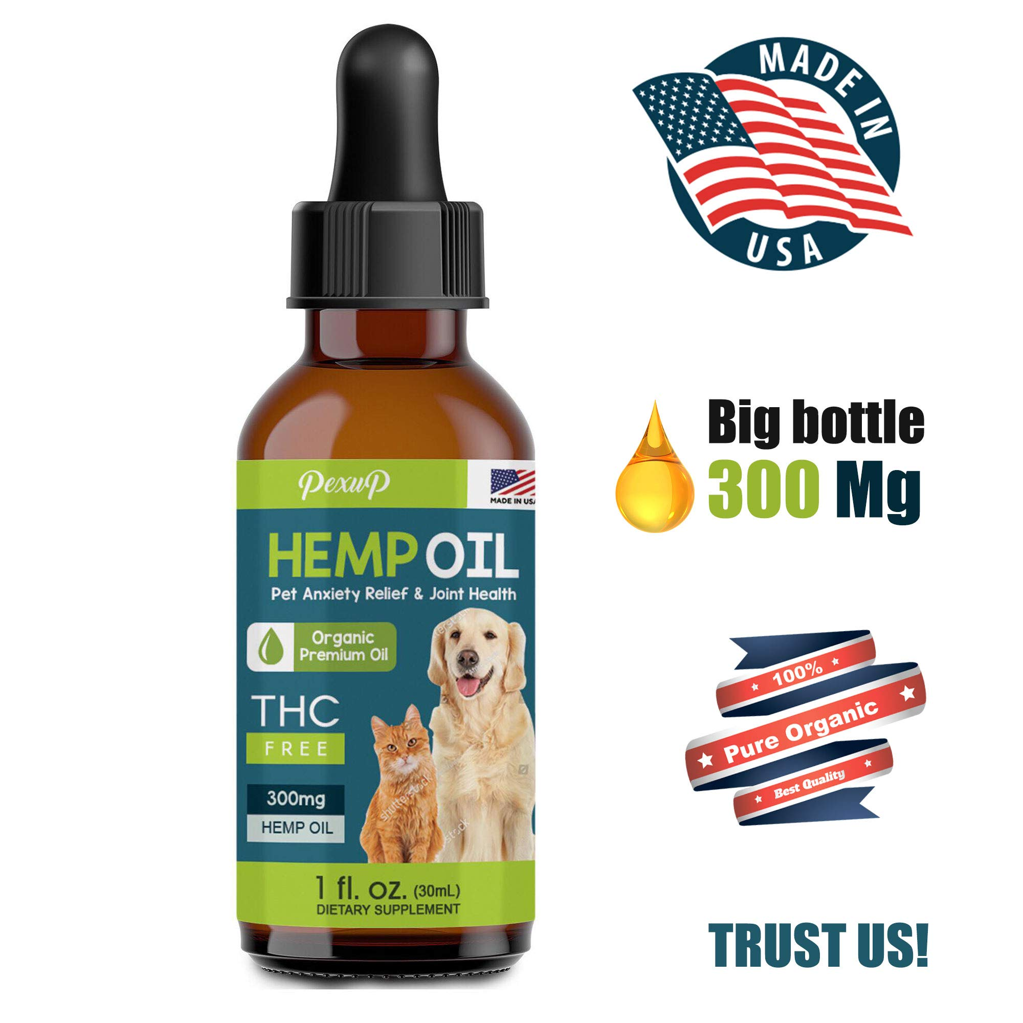 Pexup Hemp Oil for Dogs and Cats - 100% Organic Treat and Food Supplement Grown and Extracted in USA Veterinarian Formulated (300mg) - Non-GMO