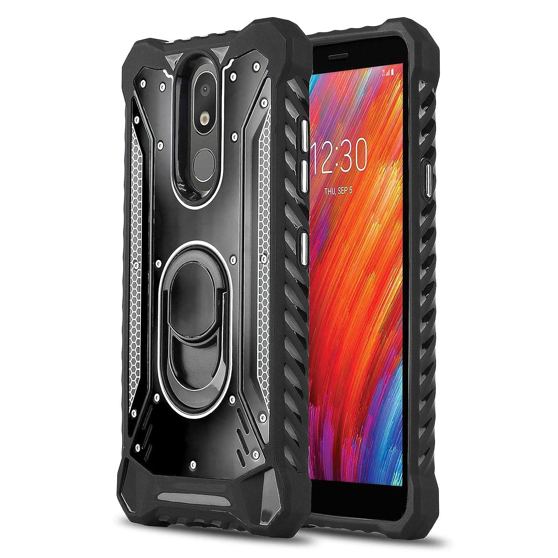 Phone Case for [LG Aristo 4 Plus (T-Mobile)], [Titanium Series][Black] Aluminum [Military Grade] Full Rotating Metal Ring [Built-in Kickstand] Shockproof Cover for LG Aristo 4 Plus (T-Mobile)