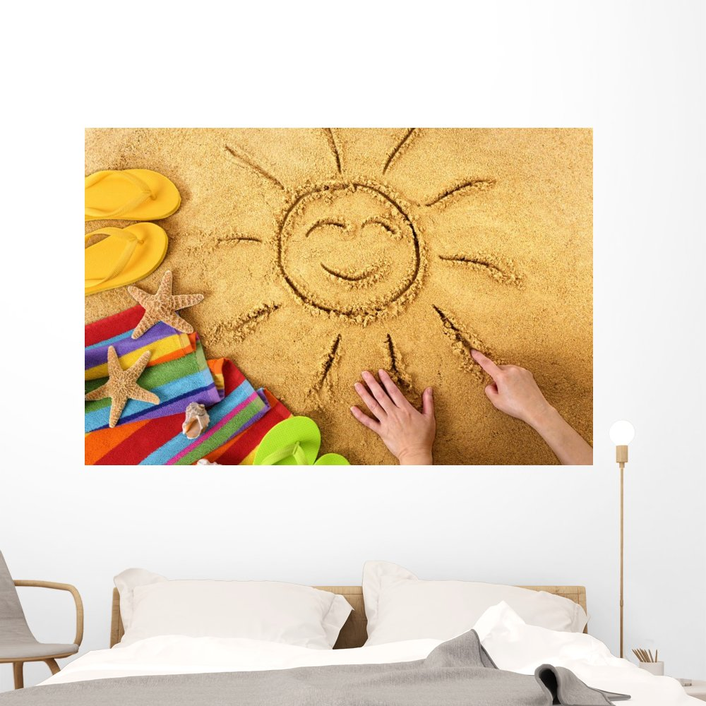 Amazon.com: Summer Beach Smiling Sun Wall Mural by Wallmonkeys Peel ...