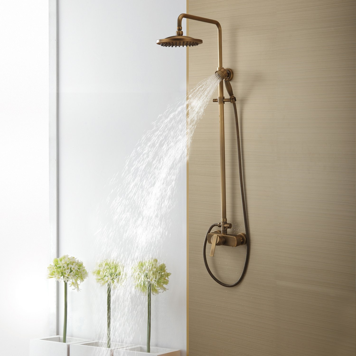 Lightinthebox® Sprinkle Antique Brass Tub Shower Faucet with 8 ...