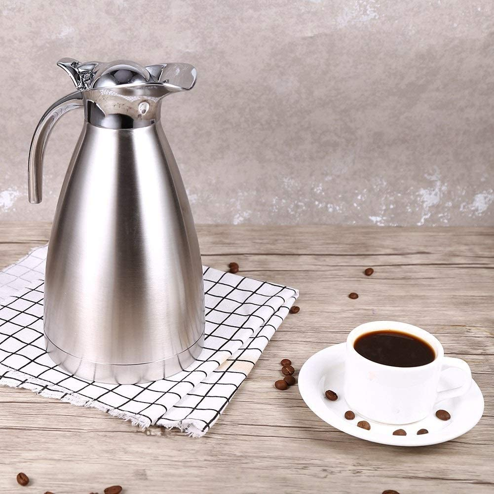 Stainless Steel Coffee Pot Double Wall Vacuum Insulated Thermo Jug Hot Water Bottle 1.5L Silver GXMZL Thermo Jug
