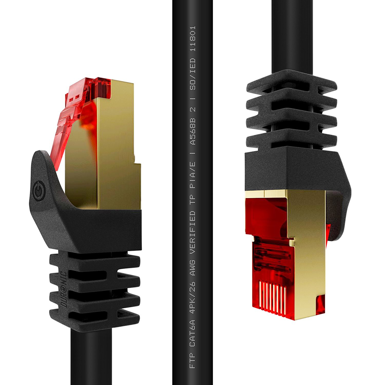 Duronic CAT6a /1.5 noir - Câbles Ethernet RJ45 CAT6a de 1,5m 500MHz - Connecteurs en plaqué Or – Idéal pour Modem, Box, ADSL, LAN, Console de jeux vidéo 5m 500MHz - Connecteurs en plaqué Or - Idéal pour Modem CAT6a/1.5
