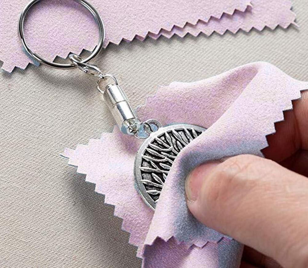 FengJ Paquet de 50 Chiffons de Nettoyage pour Bijoux Rose Chiffon en Microfibre Chiffon de Polissage pour Argent Sterling