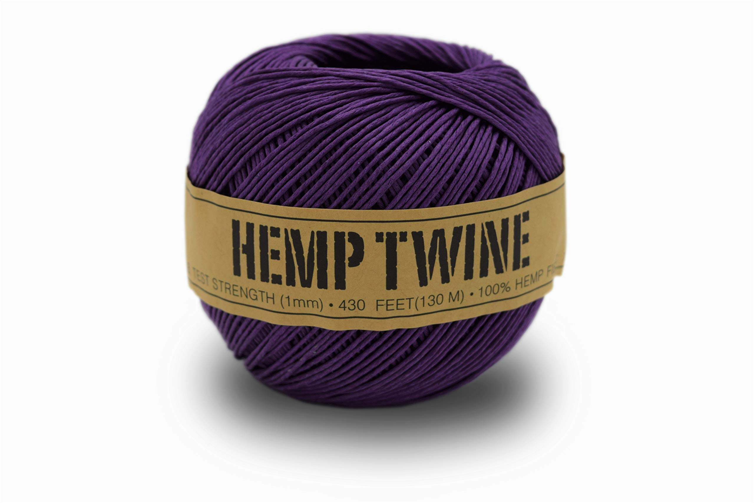 100% Hemp Twine Ball 1MM, 100G/430 Ft. - 20 lb. Test Strength - Purple by Bean Products