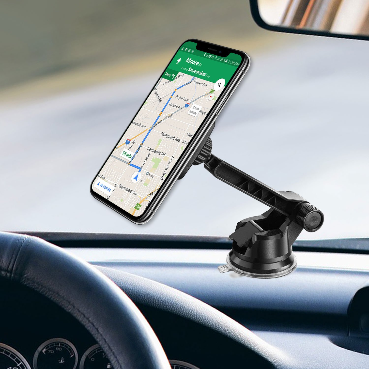 4351509682 Windshield Mount Holder for LG STYLO 4//ARISTRO 2PLUS//V35 THINQ//G7//PREMIER PRO LTE//with Long Adjustable Arm Ruix Dashboard Mount Universal Magnetic Car Mount Holder