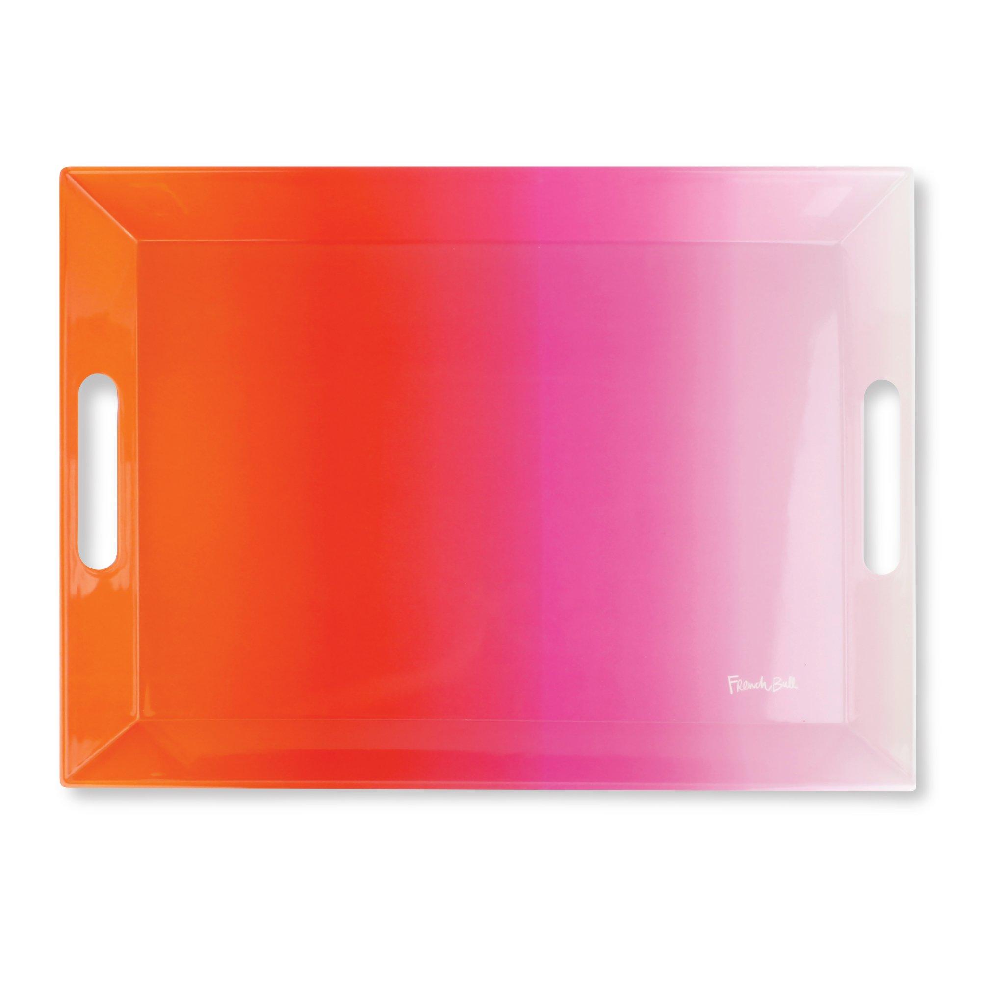 French Bull 19'' Rectangular Tray - Melamine Dinnerware - Platter, Dish, Serving, Bar - Pink Ombre