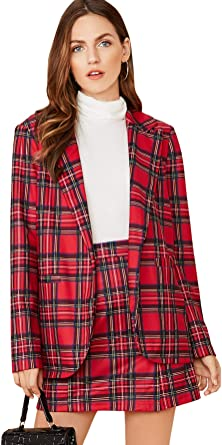 MakeMeChic Womens Two Piece Plaid Long Sleeve Blazer and Zipper Skirt Set Suit