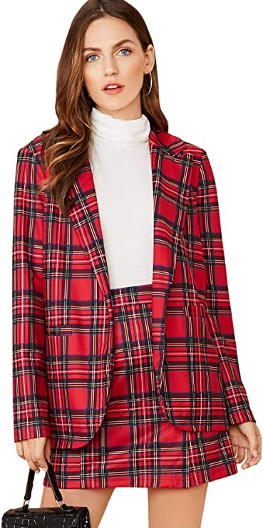 Verdusa Women's 2 Piece Outfits Lapel Collar Tartan Print Blazer & Skirt Set
