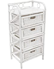 Mobile cassettiera comodino porta riviste in legno e bambù 4 cassetti bianco