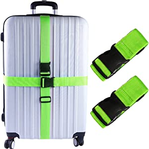 Darller 2 PCS Luggage Straps Suitcase Belts Travel Accessories Bag Straps, Green, One Size