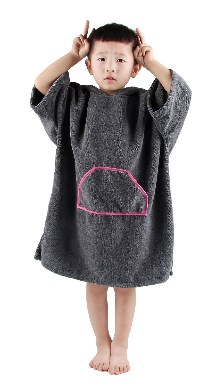 Winthome Toalla Poncho para niños Changing Robe Toalla con Capucha con Bolsillo Ideal para navegar y baño, Classic-Grey: Amazon.es: Deportes y aire libre