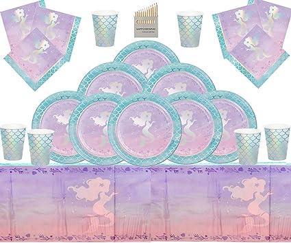 Loisirs créatifs Décorations et accessoires de fêtes Fournitures de fête de sirène Enfants Vaisselle danniversaire Décorations de fête en Papier daluminium pour sirène Shine Iridescent 16 invités