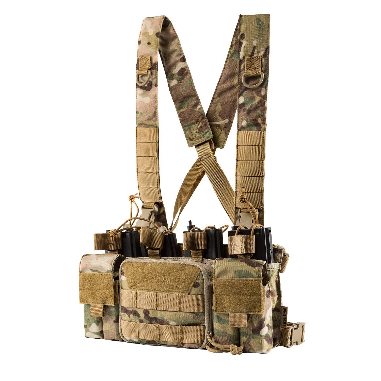 /… 28x15x5cm Camouflage OneTigris Cordura Chest Rig Molle Gilet Tactique 11x6x2