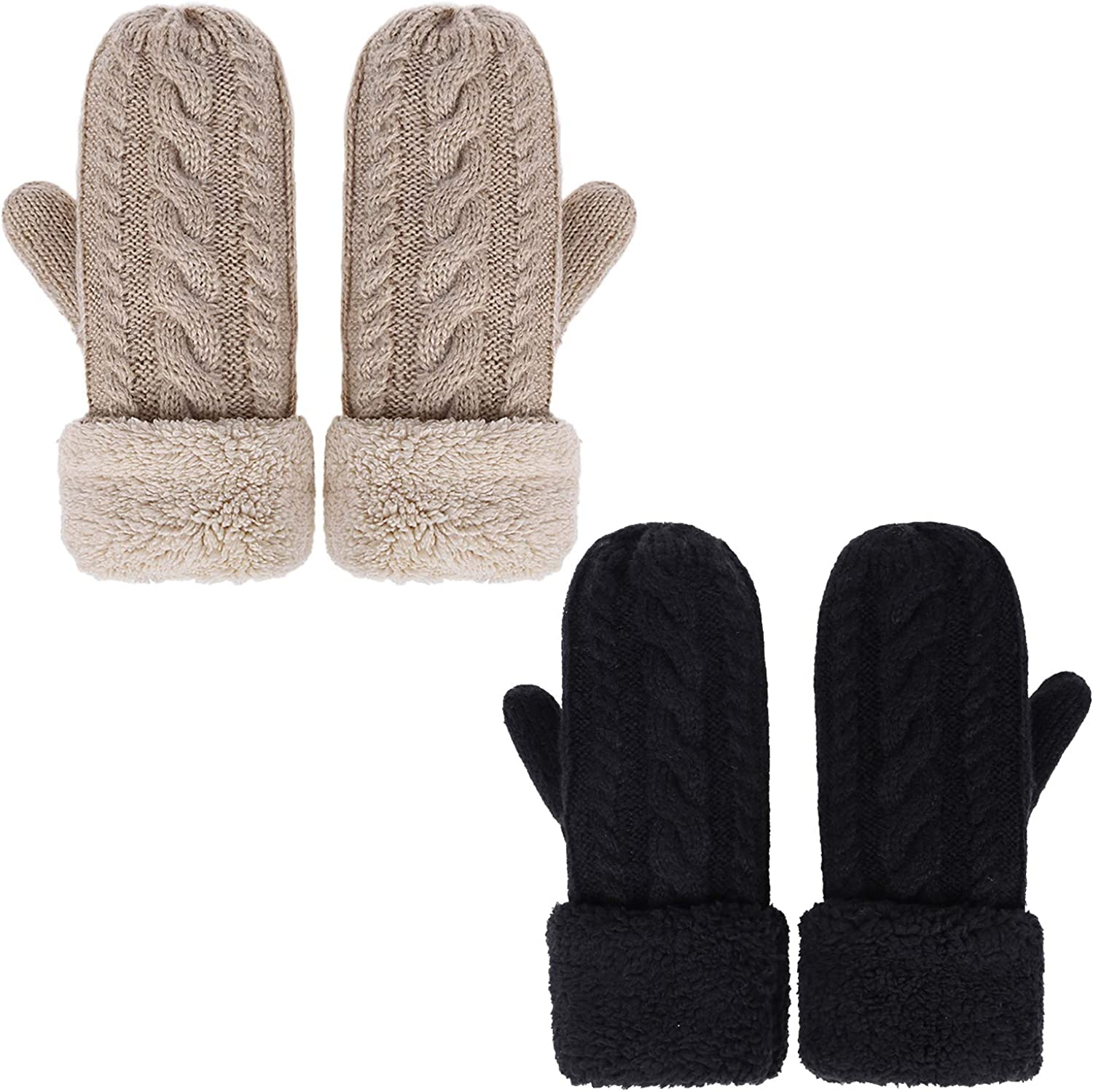 Womens Winter Gloves Knit Warm Mittens for Women Gifts with Plush Lining Cold Weather Accessories