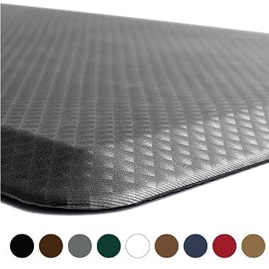 KANGAROO BRANDS Original 3/4  Anti-Fatigue Comfort Standing Mat Kitchen Rug, Phthalate Free, Non-Toxic, Waterproof, Ergonomically Engineered Floor Pad, Rugs for Office Stand Up Desk, 32x20 (Gray)