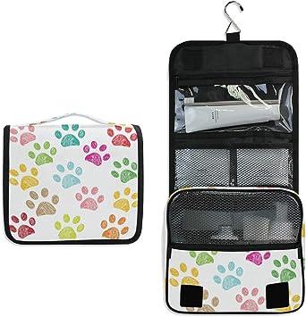 CPYang - Neceser para Colgar con diseño de Huellas de Perro, Gato, Bolsa de cosméticos, Kit de Aseo portátil para Mujeres y Hombres: Amazon.es: Equipaje