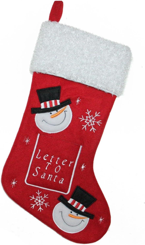 Amazon Com Northlight Embroidered Snowmen Letter To Santa Christmas Stocking 18 White Red Home Kitchen
