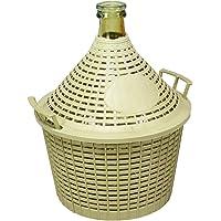 Home Damigiana con Cesto, Vetro/Plastica, Beige, 10 litri