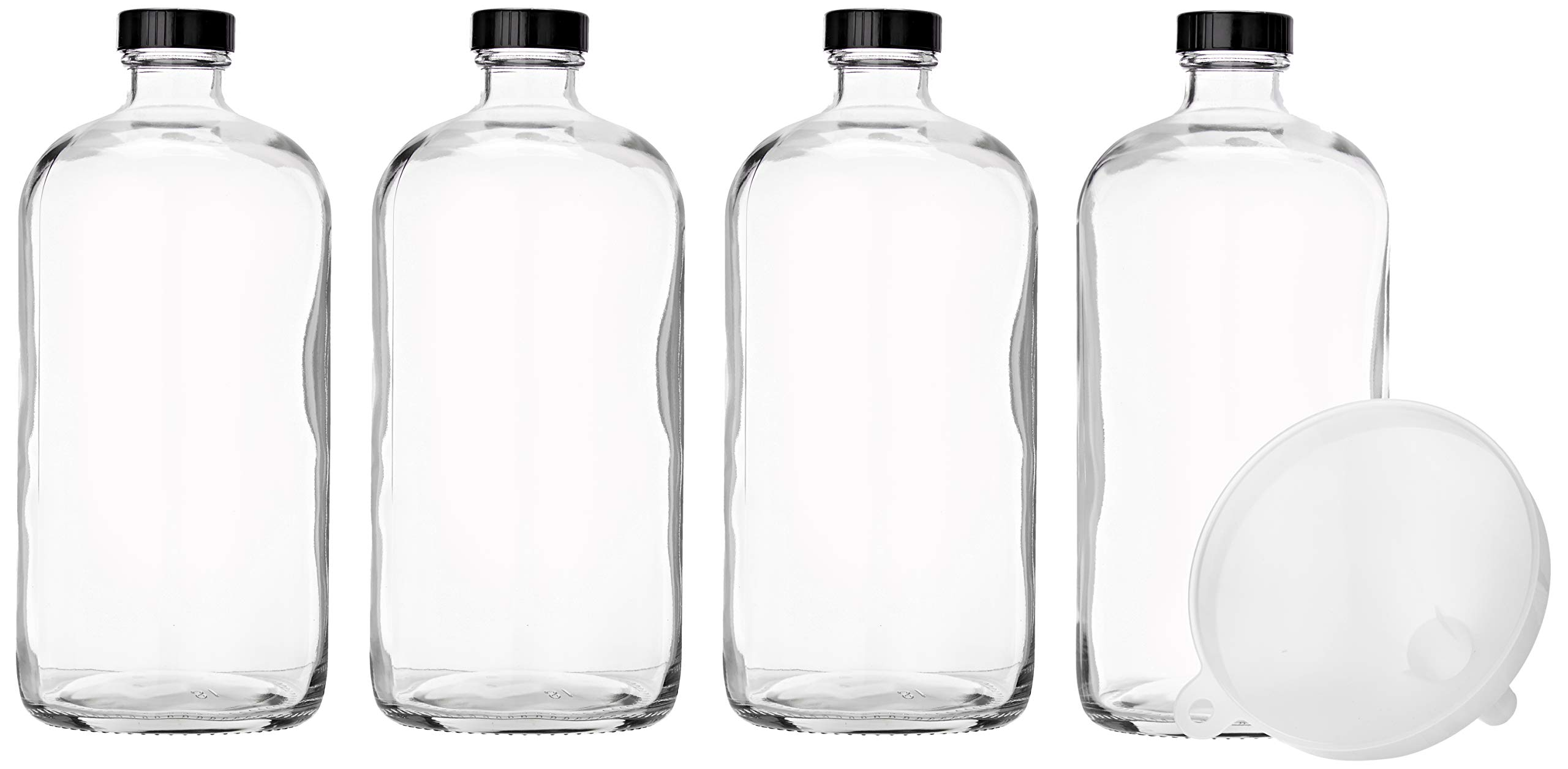 4 Pack - 32oz Boston Round Flint Clear Glass Growler Kombucha Bottles- with Phenolic Poly Cone Insert Caps - Tight Seal for Secondary Kombucha Fermentation - with Plastic Funnel for Easy Pouring