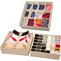 Univivi Closet Drawer Organizer Underwear Foldable Storage Box (Set of 3)
