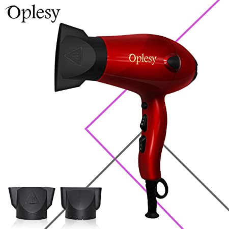Oplesy Lightweight Portable Micro Turbo Salon Compact Styling Tool Hair Dryer 1875 Watt Red