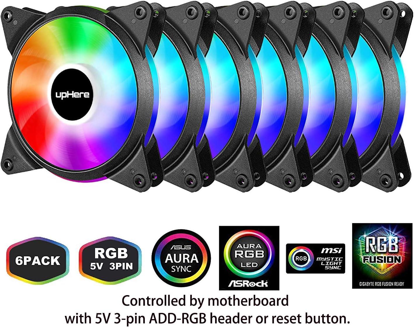 6 Ventiladores ARGB 120mm 5v con controlador