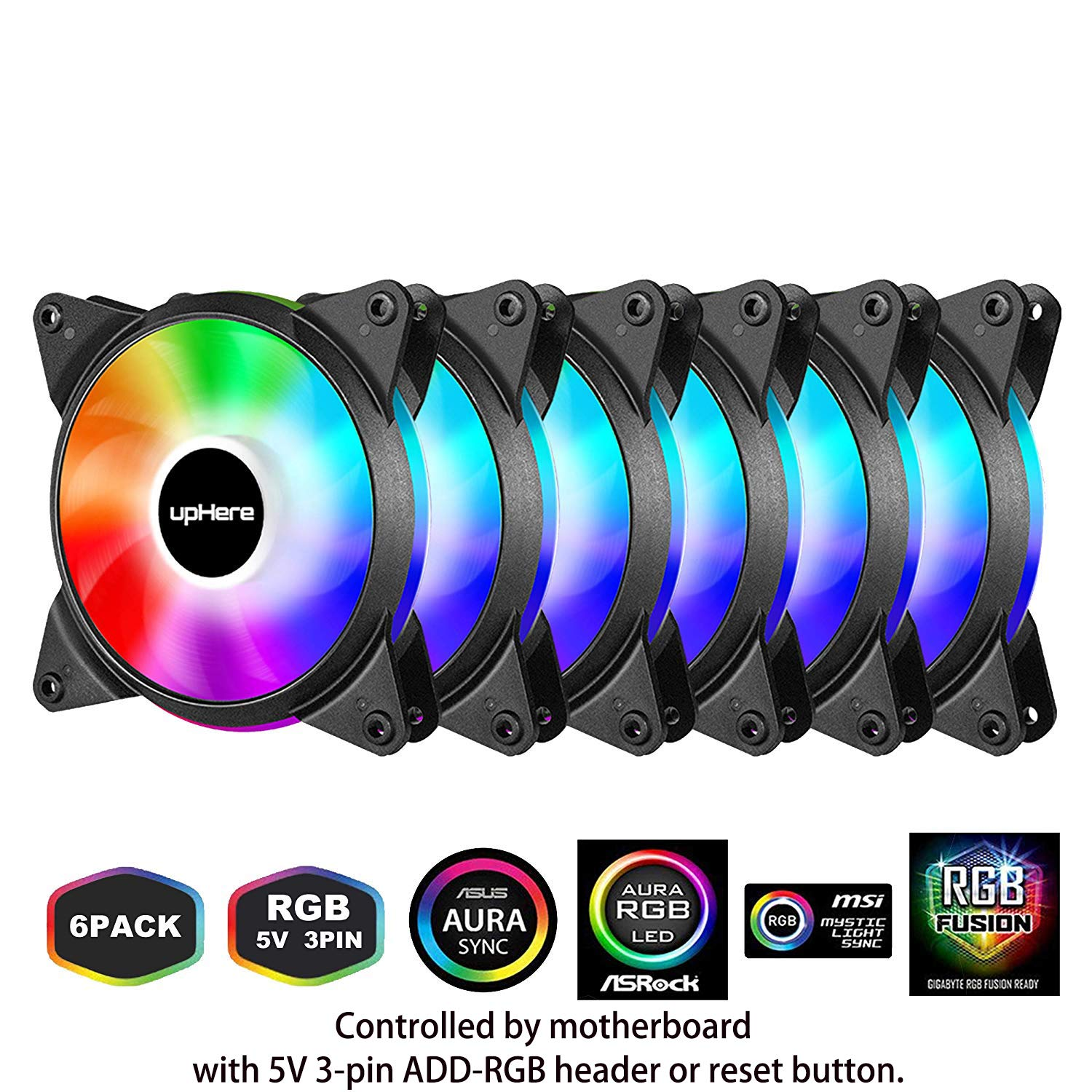 upHere 5V 6-Pack 120mm Silent Intelligent Control 5V Addressable RGB Fan Motherboard Sync, Adjustable Colorful Fans with Controller T3SYC3-6 by upHere