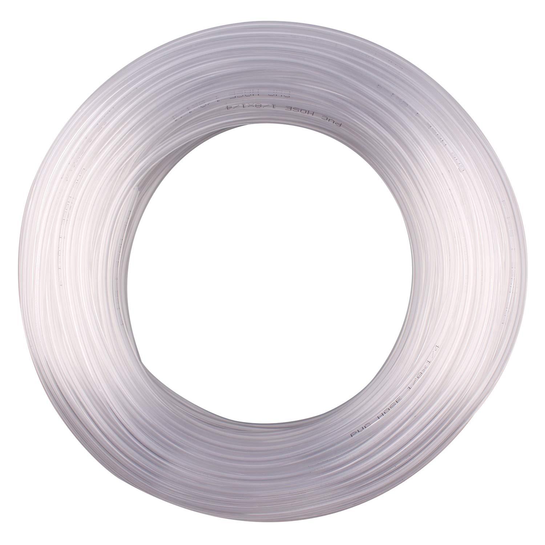 DERPIPE Clear Vinyl Tubing - 1/8 in ID 1/4 in OD PVC Tube Food Grade Flexible Plastic Pipe Hose for Homebrewing, Siphon Pump 30.5 Meters(100ft) Length