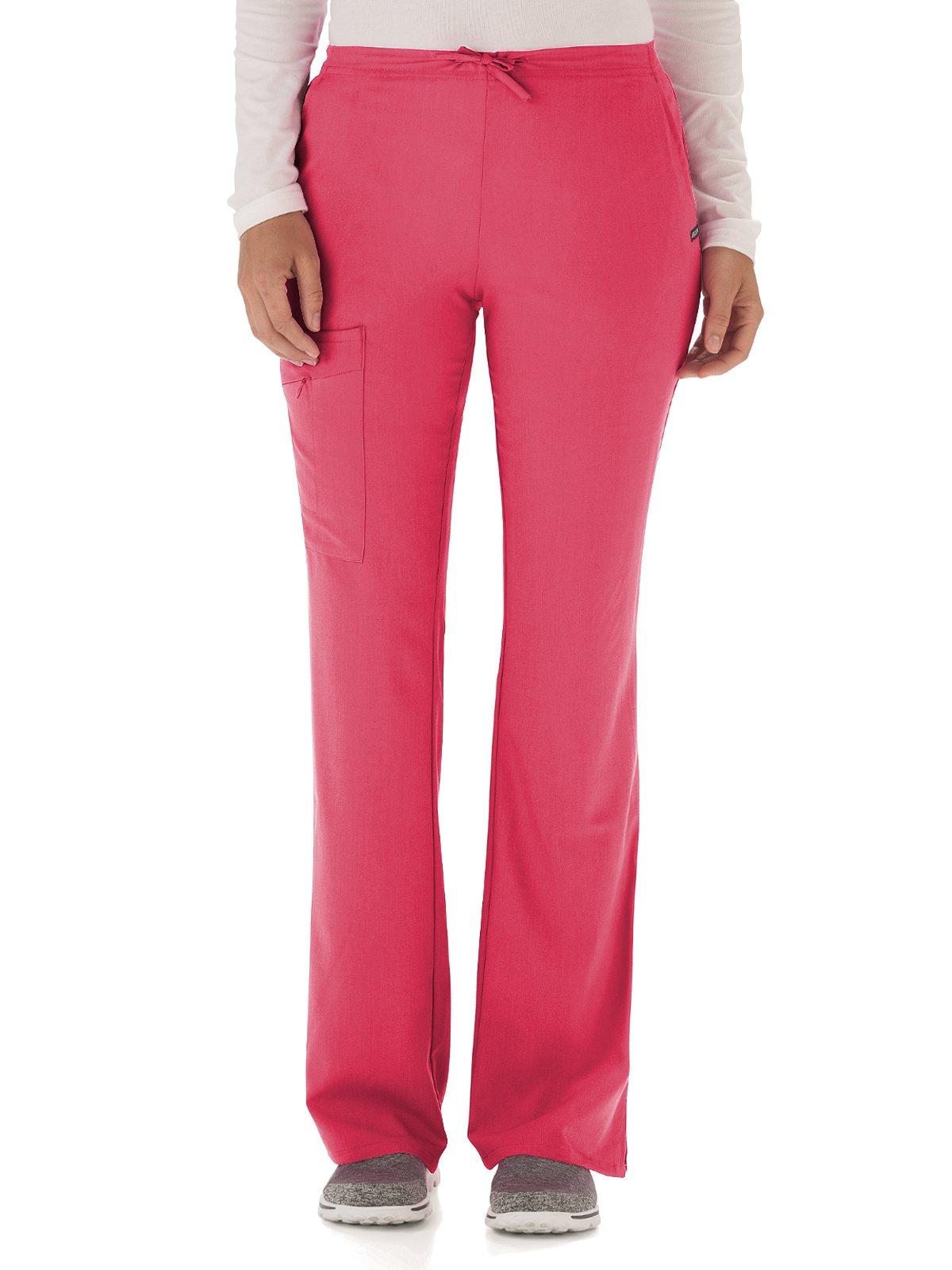 Classic Fit Collection by Jockey Women's Tri Blend Zipper Scrub Pants Medium Hibiscus