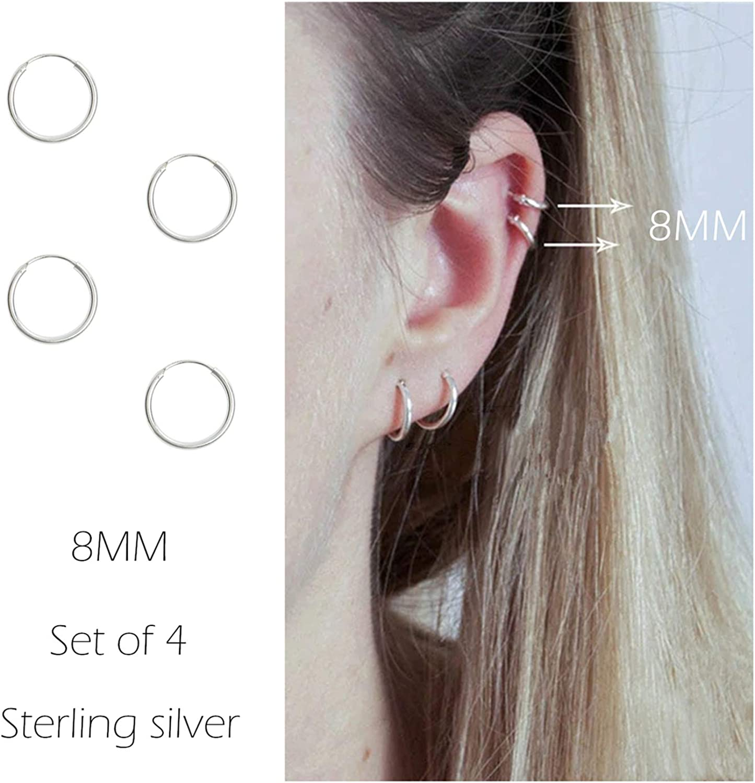 Cartilage Earring Hoop Sterling Silver Small Piercing Earrings Endless Body Rings Set for Women Men Girls