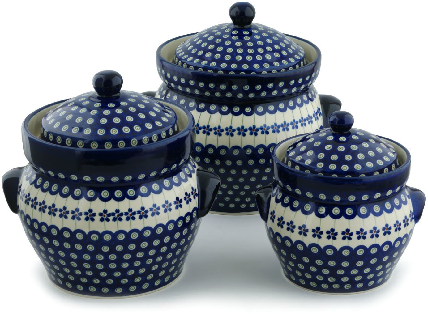 Polish Pottery Set of 3 Jars 10-inch Flowering Peacock by Polmedia Polish Pottery