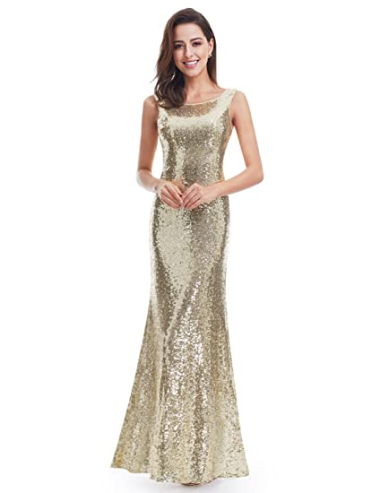 Review Ever Pretty Back Cowl Neck Shine Sequin Sparkle Elegant Gold Evening Party Gown 07110