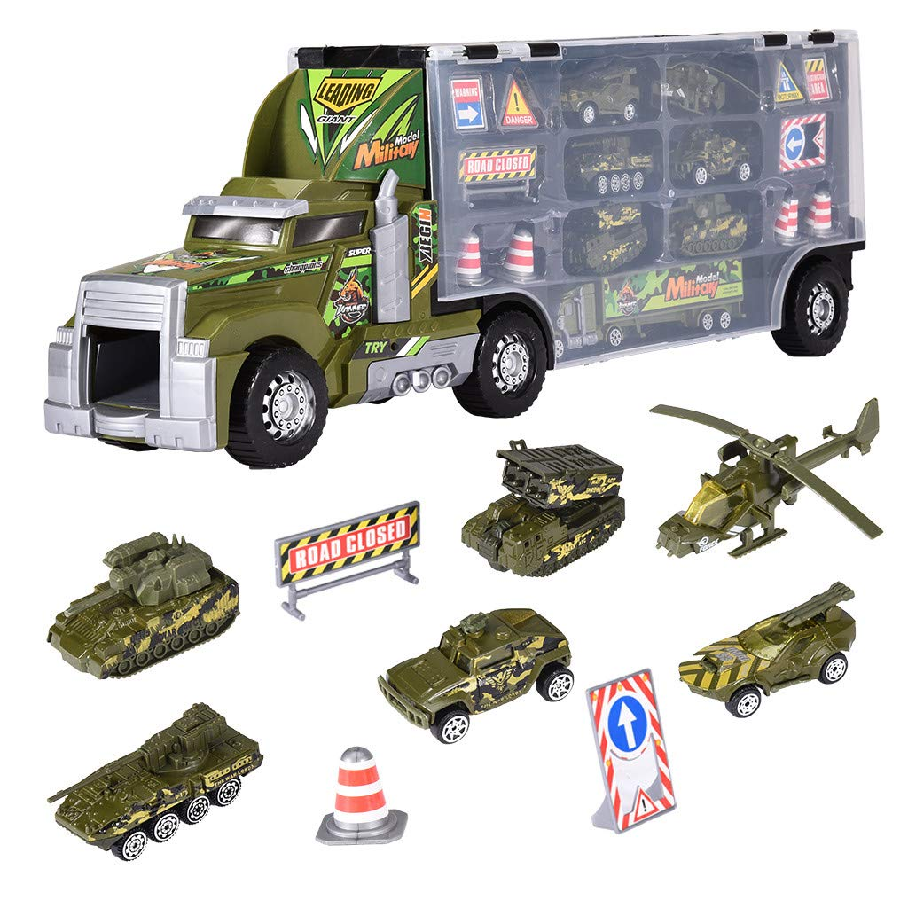 Army Transport Car, Mosunx 8 in 1 Die-cast Military Truck Army Vehicle Mini Battle Car Toy Set in Carrier Truck with Light, Gift for Kids Boys Girls (Green, Ages 3 and Up) by Mosunx