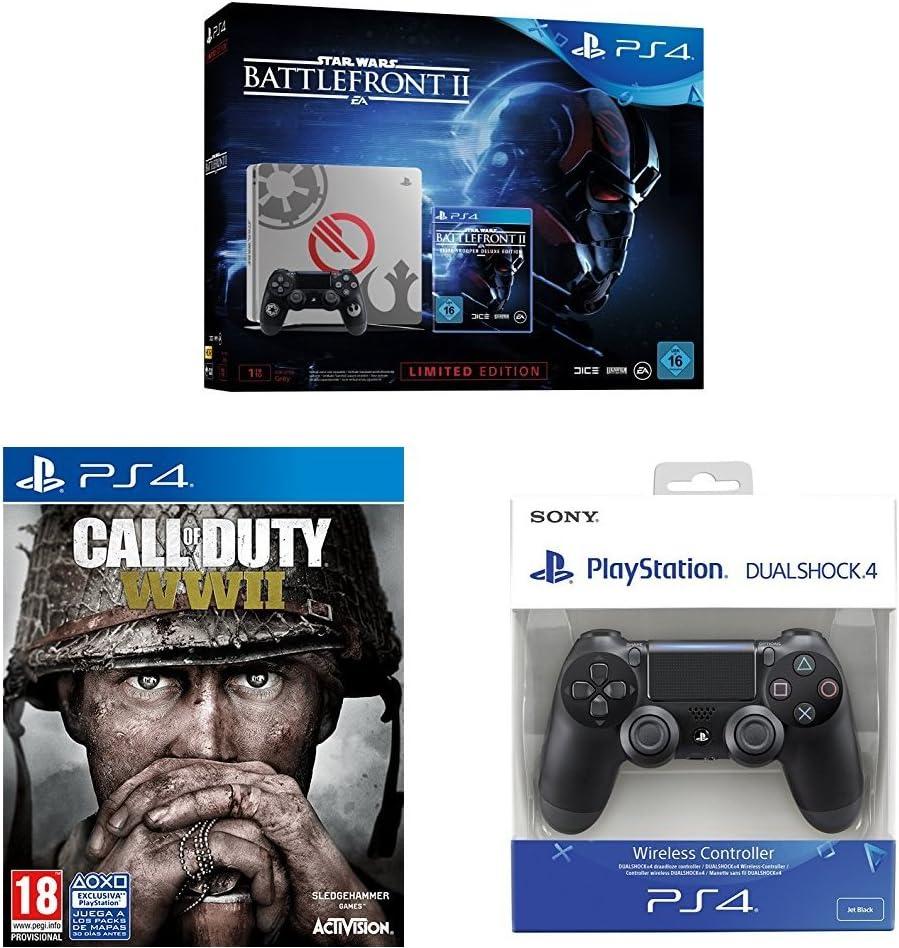 PlayStation 4 (PS4) - Consola 1 TB + Star Wars Battlefront - Edición Especial + COD WWII + Dualshock 4 Mando Inalámbrico, Color Negro V2: Amazon.es: Videojuegos