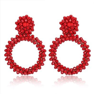 e8bc63f65 ZITULRY Beads Dangle Earrings for Women Statement Bohemian Crystal Hoop  Earrings Stud Wrapped Wire Woven Beadwork