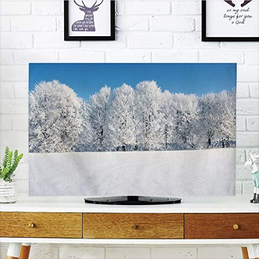 Cubierta para Polvo de TV LCD, Invierno, Torre Eiffel Cubierta en Nieve al Aire Libre Champ de Mars Tourist Attraction Paris France Decorativa, diseño de impresión 3D Compatible con TV de 32