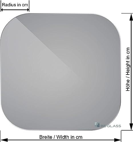 Kantenstempel. klar durchsichtig mit runden Ecken Glasplatten ESG 8mm 700 x 700 mm Kanten geschliffen und poliert Nach Ma/ß bis 70 x 70 cm ESG nach DIN