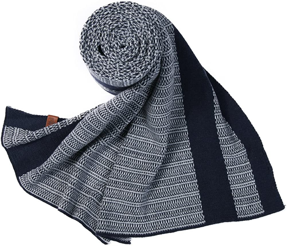 Comhats Mens Thick Knitted Plaid//Striped 77 Long Winter Scarf Shawl 3 Patterns