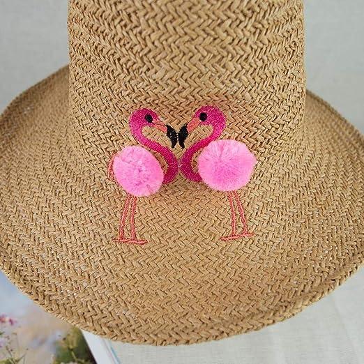Fzwang Sombrero de Paja de Gancho Color Puro Flamenco Mano ...